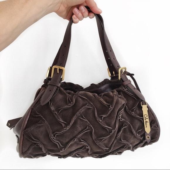 COLE HAAN triple zipper Sloan satchel in Espresso.
